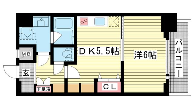 物件番号: 1025882956 エステムプラザ神戸水木通グランクロス  神戸市兵庫区水木通1丁目 1DK マンション 間取り図