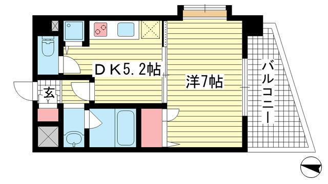 物件番号: 1025882958 シャインビュー六甲  神戸市灘区六甲町5丁目 1K マンション 間取り図