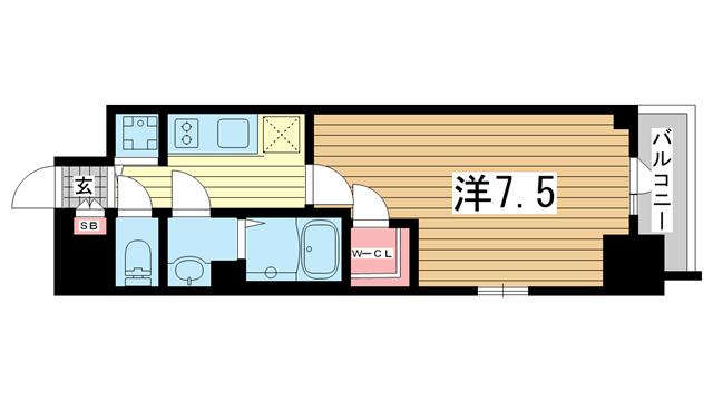 物件番号: 1025882975 エスリード神戸ハーバーテラス  神戸市中央区中町通4丁目 1K マンション 間取り図