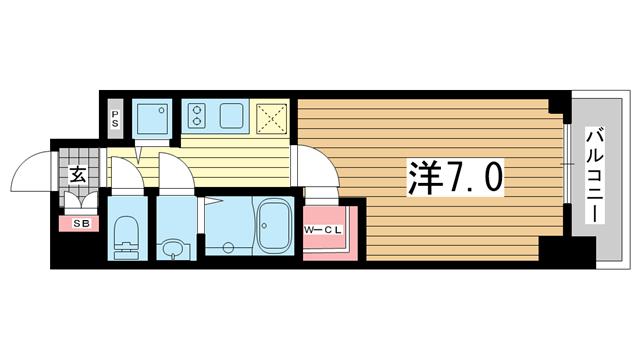 物件番号: 1025883017 エスリード神戸ハーバーテラス  神戸市中央区中町通4丁目 1K マンション 間取り図