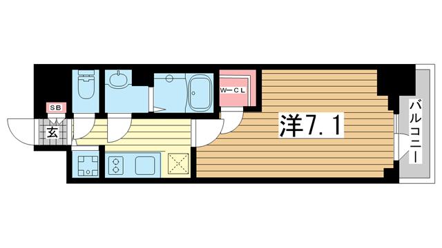 物件番号: 1025883028 エスリード神戸ハーバーテラス  神戸市中央区中町通4丁目 1K マンション 間取り図