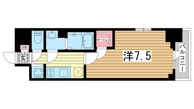 物件番号: 1025883066 エスリード神戸ハーバーテラス  神戸市中央区中町通4丁目 1K マンション 間取り図