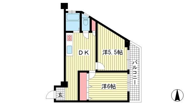 物件番号: 1025883164 三葉ハイツ  神戸市中央区山本通4丁目 2DK マンション 間取り図