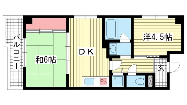 物件番号: 1025883166 新神戸都マンション  神戸市中央区生田町2丁目 2DK マンション 間取り図