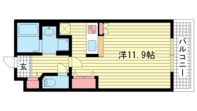 物件番号: 1025883167 アクロス神戸灘アパートメント  神戸市灘区新在家南町5丁目 1K マンション 間取り図