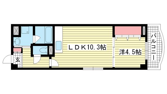 物件番号: 1025883184 メルフィール岡本  神戸市東灘区本山北町2丁目 1LDK マンション 間取り図