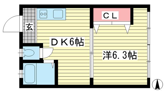 物件番号: 1025883187 大星マンション  神戸市中央区吾妻通1丁目 1DK マンション 間取り図