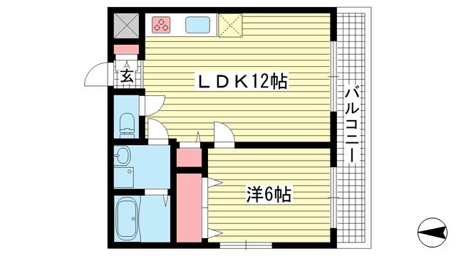 物件番号: 1025883191 セントラルハイツ本山  神戸市東灘区本山中町2丁目 1LDK マンション 間取り図