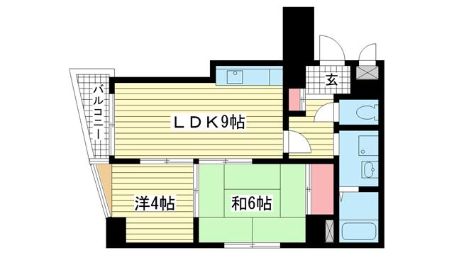 物件番号: 1025883205 グランディア花隈駅前  神戸市中央区北長狭通6丁目 2LDK マンション 間取り図