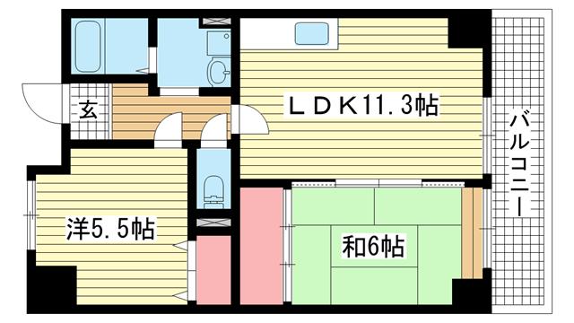 物件番号: 1025883207 ミリオンベル神戸  神戸市兵庫区佐比江町 2LDK マンション 間取り図