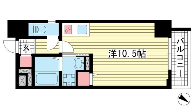 物件番号: 1025883214 SDグランツ神戸大開通  神戸市兵庫区大開通7丁目 1R マンション 間取り図