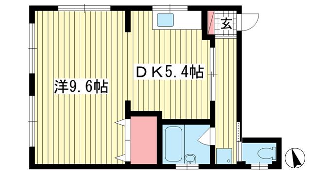 物件番号: 1025883215 岩本ビル  神戸市兵庫区西多聞通1丁目 1DK マンション 間取り図