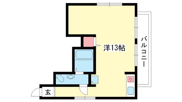 物件番号: 1025883216 篠原第2ビル  神戸市中央区下山手通8丁目 1R マンション 間取り図