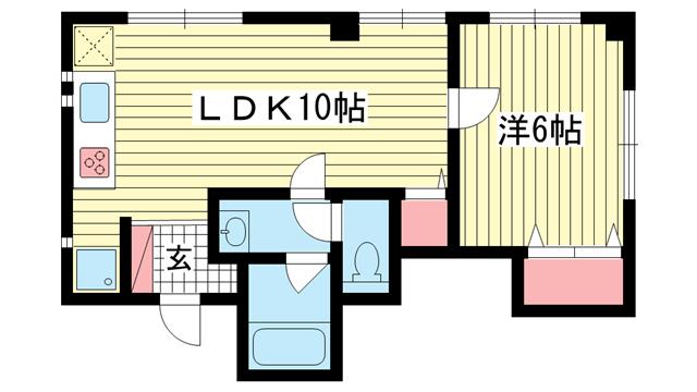 物件番号: 1025883219 津高ビル  神戸市兵庫区西多聞通1丁目 1LDK マンション 間取り図