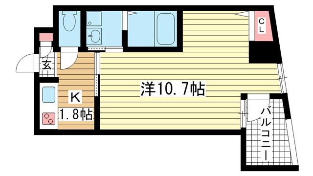 物件番号: 1025883220 ウィステリア神戸駅前  神戸市兵庫区新開地3丁目 1K マンション 間取り図