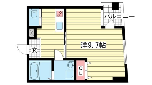 物件番号: 1025883222 ウィステリア神戸駅前  神戸市兵庫区新開地3丁目 1K マンション 間取り図