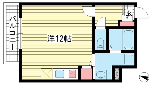 物件番号: 1025883224 ARPEGGIO三宮  神戸市中央区琴ノ緒町4丁目 1R マンション 間取り図
