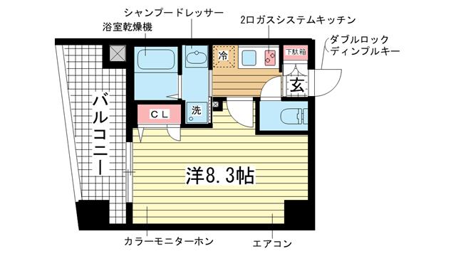 物件番号: 1025883228 ライジングコート三宮マリーナシティ  神戸市中央区東雲通3丁目 1K マンション 間取り図