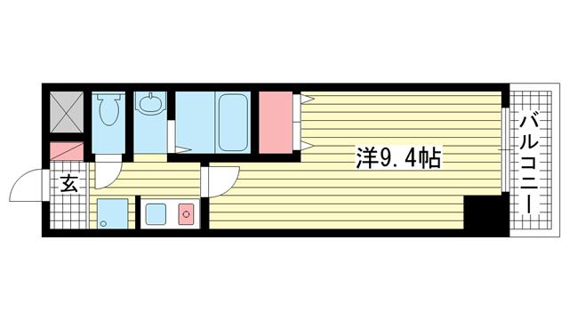 物件番号: 1025883234 ブリックロード・山の手  神戸市中央区下山手通8丁目 1K マンション 間取り図