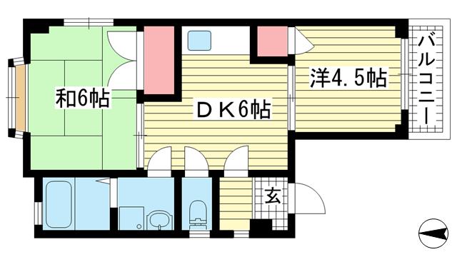 物件番号: 1025883238 ニュー弥生  神戸市灘区船寺通4丁目 2DK マンション 間取り図