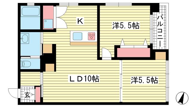 物件番号: 1025883244 ワコーレアルテ上筒井  神戸市中央区野崎通3丁目 2LDK マンション 間取り図