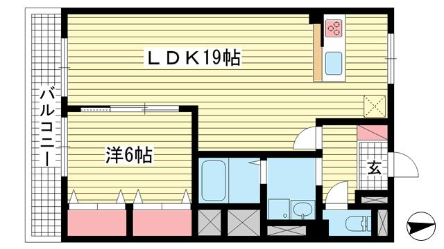 物件番号: 1025883245 ワコーレアルテ上筒井  神戸市中央区野崎通3丁目 1LDK マンション 間取り図