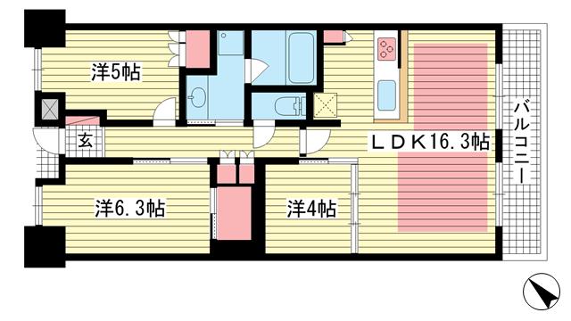 物件番号: 1025883263 パークホームズ神戸ザレジデンス  神戸市中央区栄町通7丁目 2SLDK マンション 間取り図
