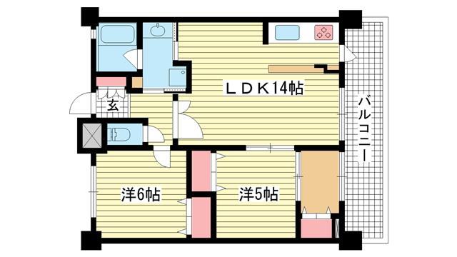 物件番号: 1025883268 プレジール三宮Ⅱ  神戸市中央区加納町2丁目 3LDK マンション 間取り図