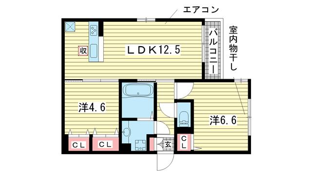 物件番号: 1025883272 グレイスコート神戸北野  神戸市中央区山本通2丁目 2LDK ハイツ 間取り図