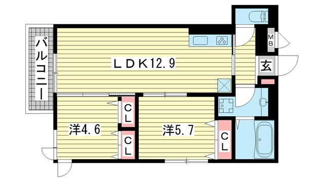 物件番号: 1025883273 グレイスコート神戸北野  神戸市中央区山本通2丁目 2LDK ハイツ 間取り図