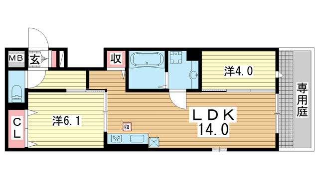 物件番号: 1025883274 グレイスコート神戸北野  神戸市中央区山本通2丁目 2LDK ハイツ 間取り図