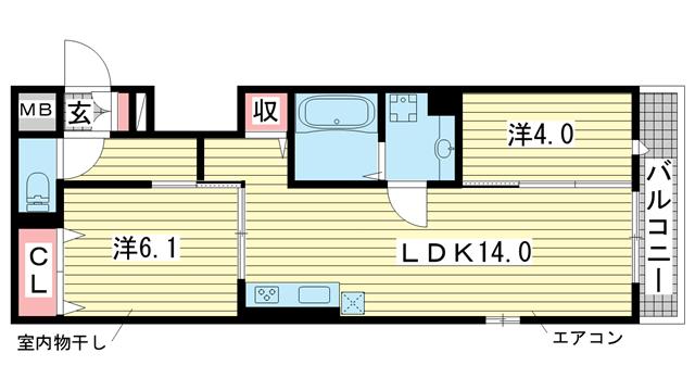 物件番号: 1025883278 グレイスコート神戸北野  神戸市中央区山本通2丁目 2LDK ハイツ 間取り図