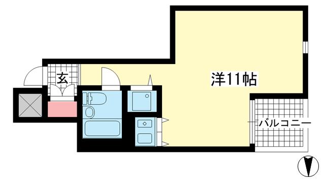 物件番号: 1025883289 朝日プラザ新神戸  神戸市中央区生田町1丁目 1R マンション 間取り図