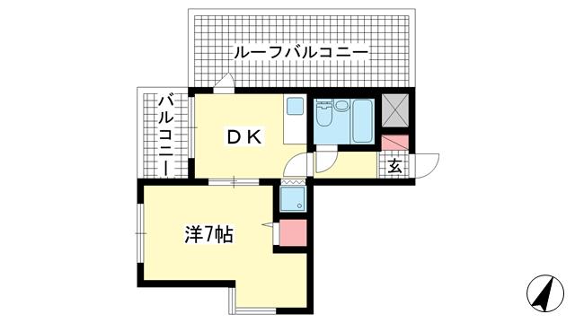 物件番号: 1025883290 ライオンズマンション中山手  神戸市中央区中山手通4丁目 1DK マンション 間取り図