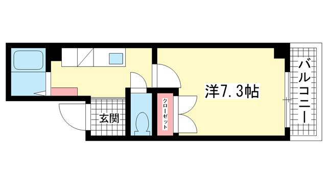物件番号: 1025883291 藤橋マンション  神戸市兵庫区羽坂通2丁目 1K マンション 間取り図