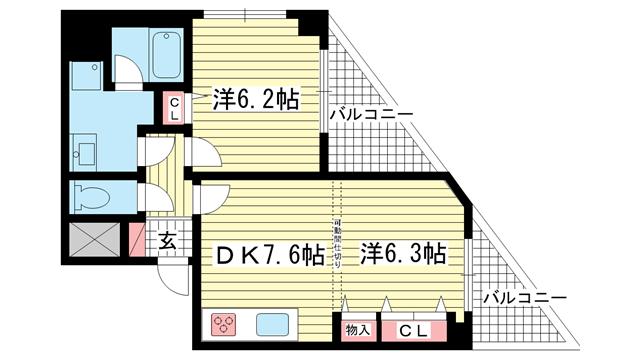 物件番号: 1025883292 ロイヤルヒル神戸三ノ宮Ⅱ  神戸市中央区加納町3丁目 2DK マンション 間取り図
