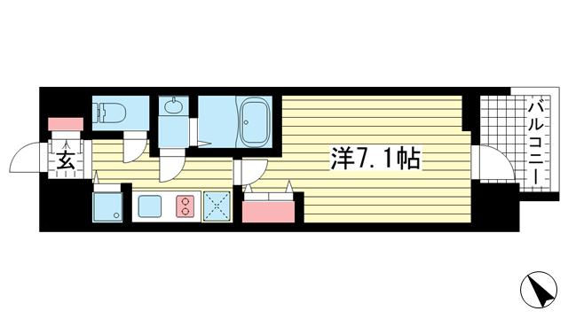 物件番号: 1025883293 LAV☆神戸三宮  神戸市中央区浜辺通4丁目 1K マンション 間取り図