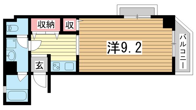 物件番号: 1025883294 シティライフ六甲道Ⅲ  神戸市灘区桜口町2丁目 1R マンション 間取り図