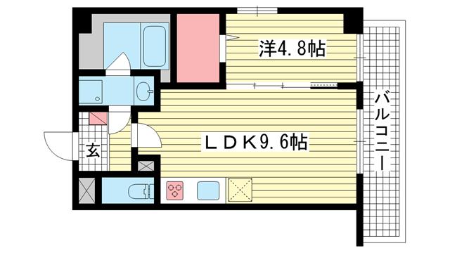 物件番号: 1025883295 サニーコート神戸下山手  神戸市中央区下山手通8丁目 1LDK マンション 間取り図