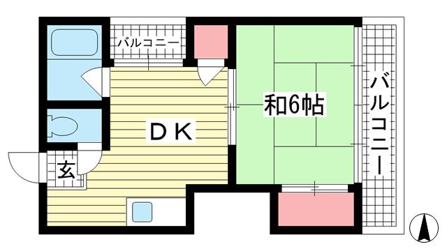 物件番号: 1025883297 元町マンション  神戸市中央区元町通3丁目 1DK マンション 間取り図