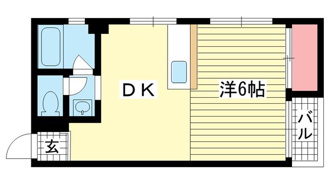 物件番号: 1025883298 シャトー金岡  神戸市中央区北長狭通5丁目 1DK マンション 間取り図