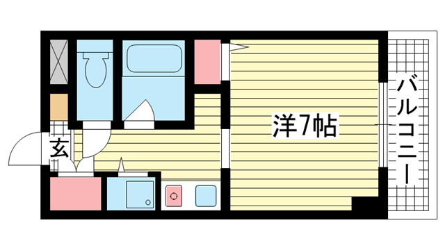 物件番号: 1025883299 リーガルコート明和  神戸市中央区二宮町3丁目 1K マンション 間取り図