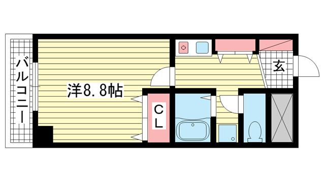 物件番号: 1025883302 ブルーベル中山手  神戸市中央区中山手通2丁目 1K マンション 間取り図