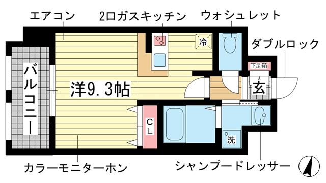 物件番号: 1025883306 プライムレジデンス神戸・県庁前  神戸市中央区花隈町 1K マンション 間取り図