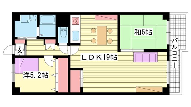 物件番号: 1025883311 マイコーポ神戸  神戸市中央区相生町5丁目 2LDK マンション 間取り図