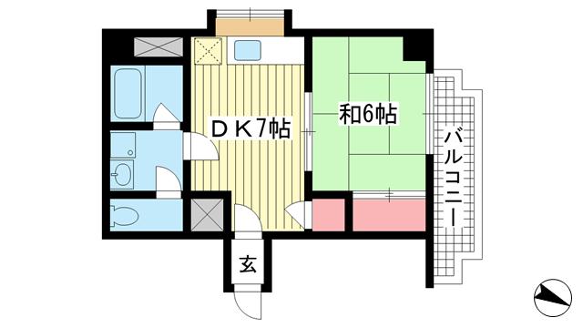 物件番号: 1025883315 ベルメゾン旗塚  神戸市中央区旗塚通3丁目 1DK マンション 間取り図