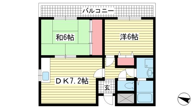 物件番号: 1025883316 グランドハイツ岸本  神戸市中央区日暮通1丁目 2DK マンション 間取り図
