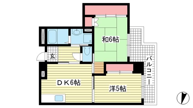物件番号: 1025883317 グランドハイツ岸本  神戸市中央区日暮通1丁目 2DK マンション 間取り図