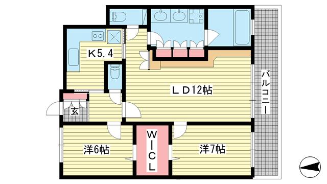 物件番号: 1025883318 ワコーレ神戸北野セリュックス  神戸市中央区加納町2丁目 2LDK マンション 間取り図