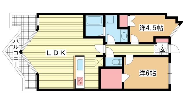 物件番号: 1025883319 ブリックロード・山の手  神戸市中央区下山手通8丁目 2LDK マンション 間取り図